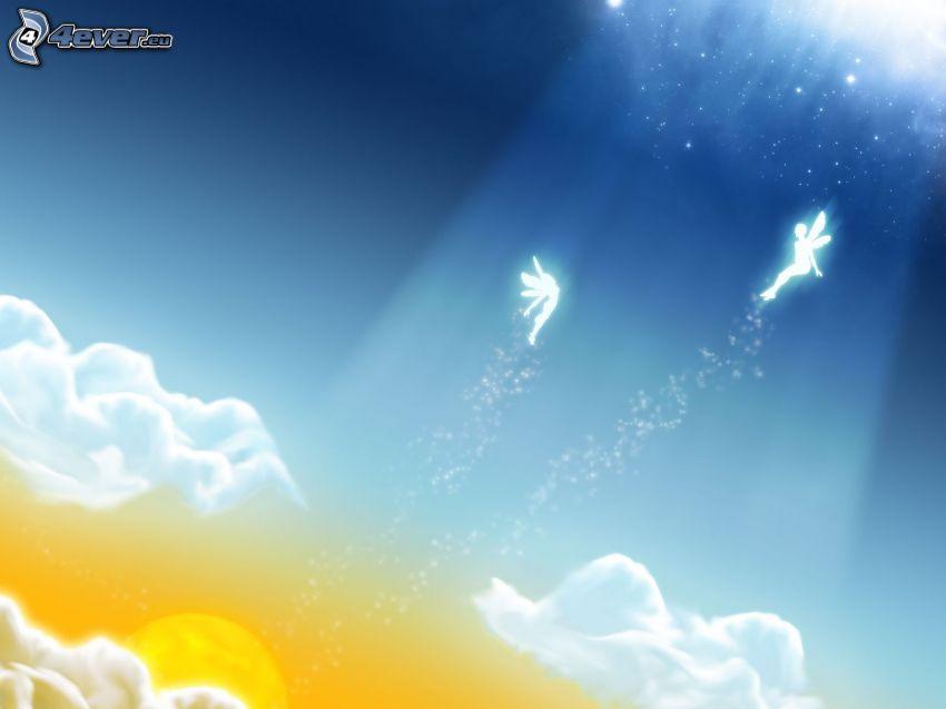 anioły, promienie słoneczne