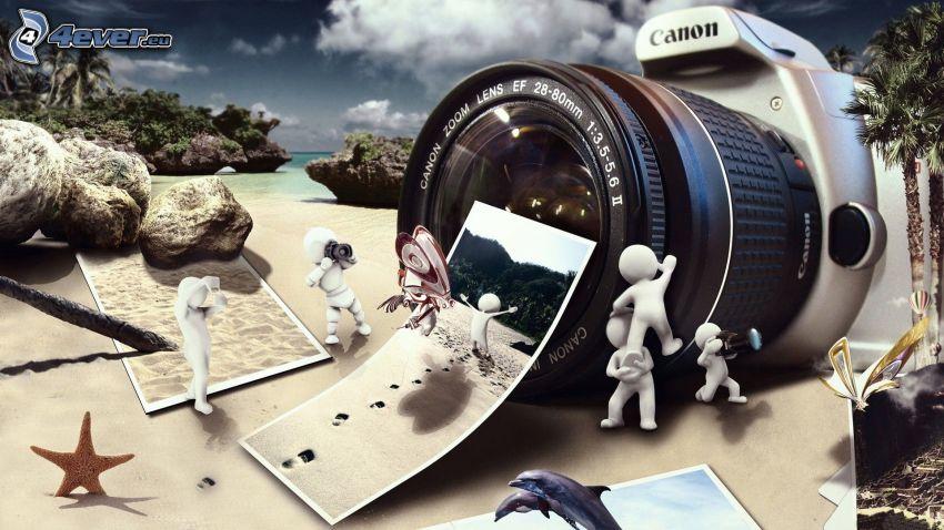 aparat fotograficzny, figurki, morze, plaża, Zdjęcia