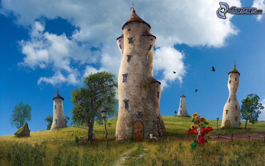 bajkowa kraina, wieże, łąka