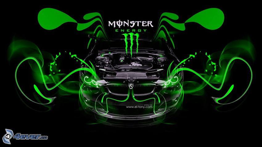 BMW M3, Monster Energy, samochód, logo