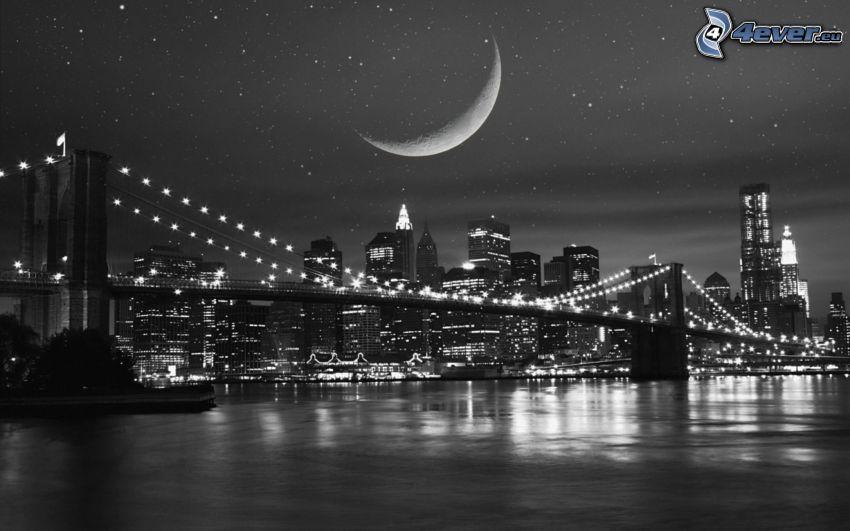 Brooklyn Bridge, planeta, noc, czarno-białe zdjęcie