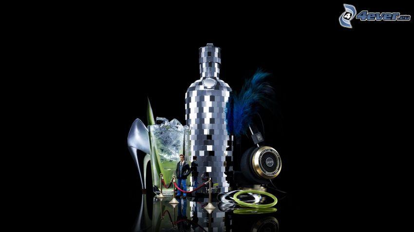 butelka, szklanka, but na obcasie, mężczyzna