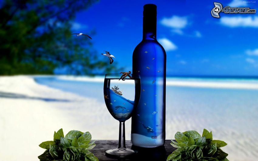 butelka, szklanka, morze, mewy, sztuka cyfrowa