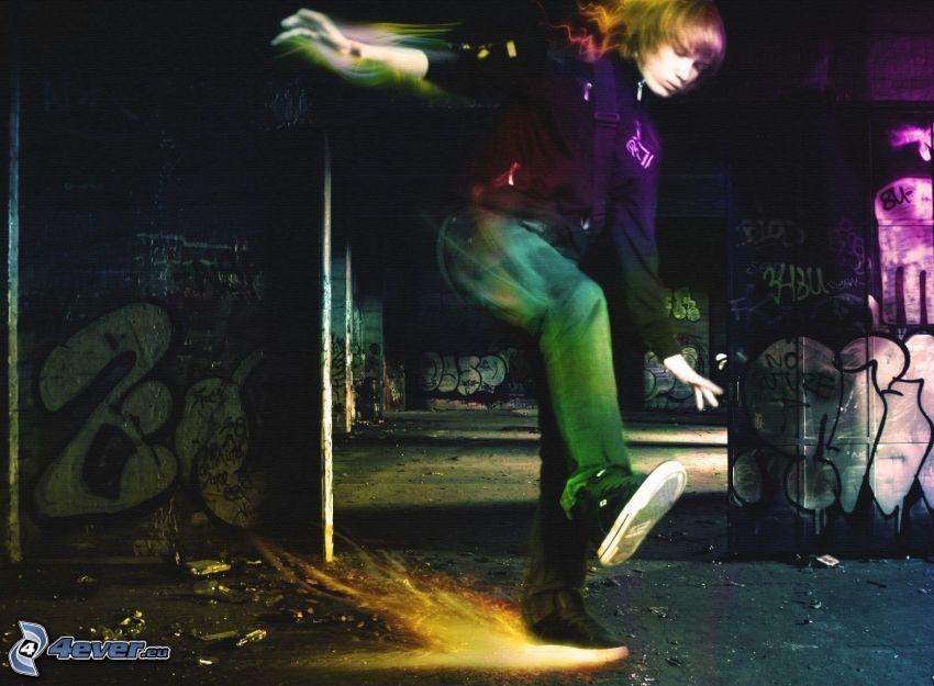 chłopak, efekty świetlne, graffiti