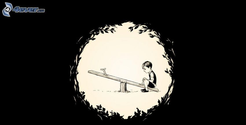 chłopczyk, huśtawka, krąg, samotna