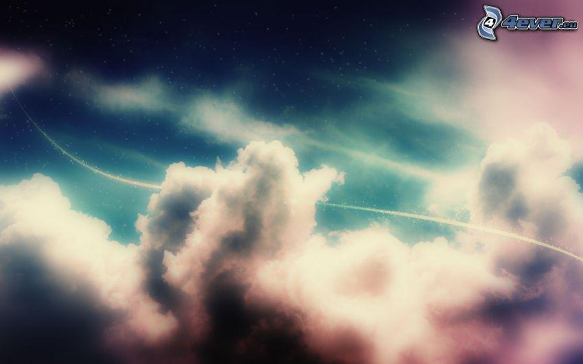 chmury, biała linia
