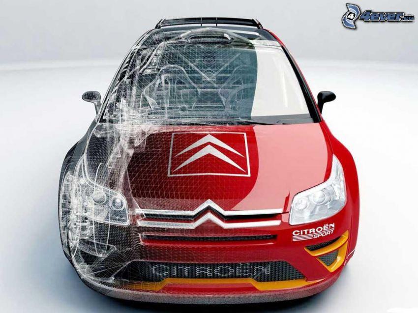 Citroën C4, rysowany samochód