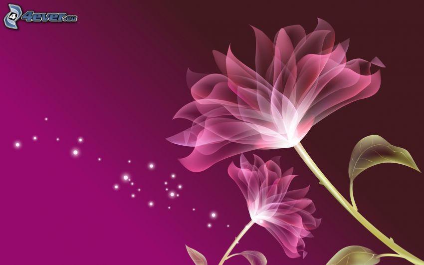 cyfrowe kwiaty, fioletowe tło