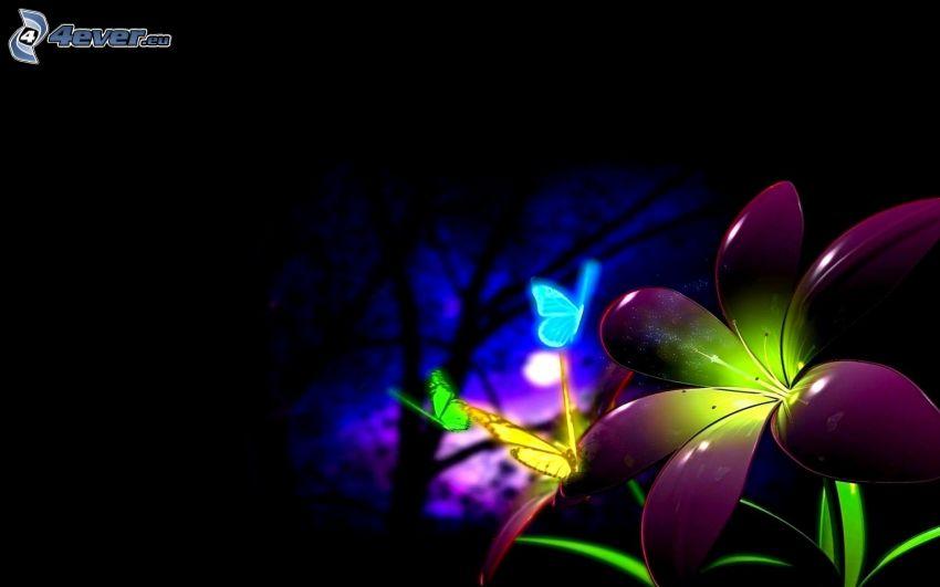 cyfrowe kwiaty, kolorowe motyle