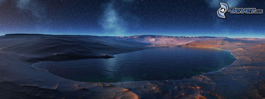 cyfrowy krajobraz, jezioro, gwiazdy