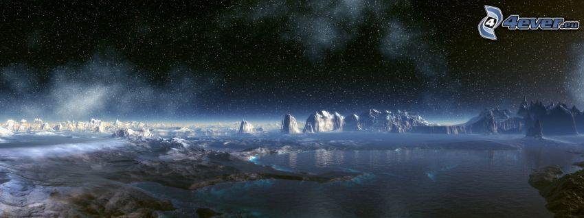 cyfrowy krajobraz, woda, gwiazdy