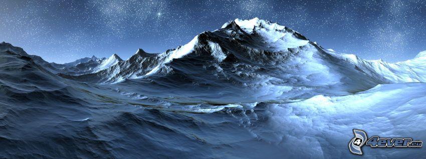 cyfrowy krajobraz, wzgórze, gwiazdy