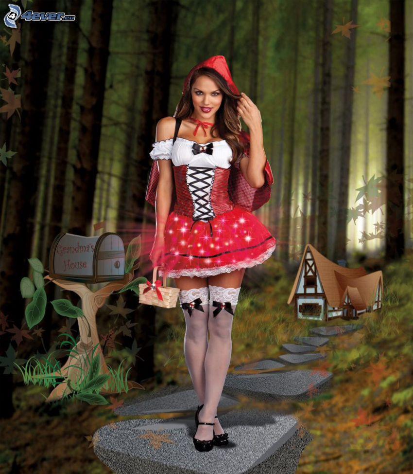 Czerwony Kapturek, las, chatka, skrzynka pocztowa, kostium