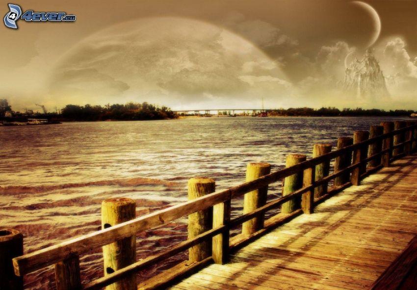 drewniany most, jezioro, planety