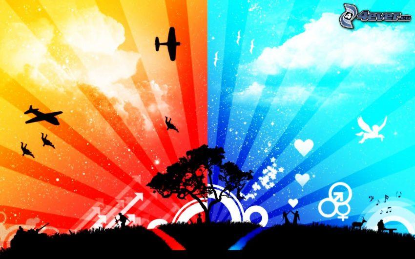 drzewo, samoloty, Pegaz, serduszka, strzałki, chmury, znaki