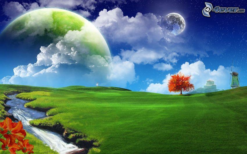 dwa księżyce, planeta, łąka, pole, trawnik, strumyk, jesienne drzewo, młyn