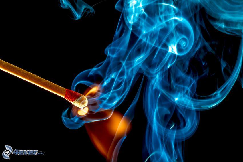 dym, zapałka
