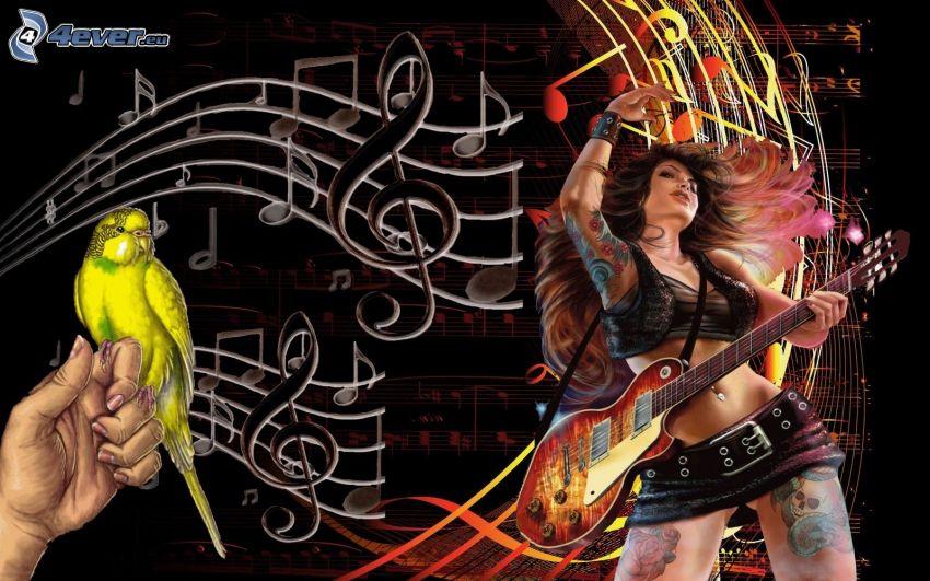 Dziewczyna z gitarą, papuga