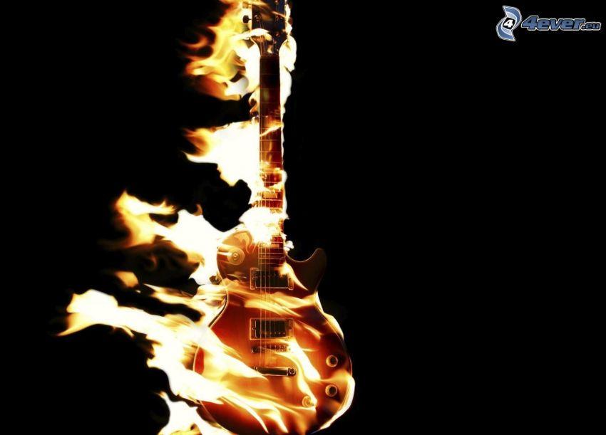 elektryczna gitara, płomienie