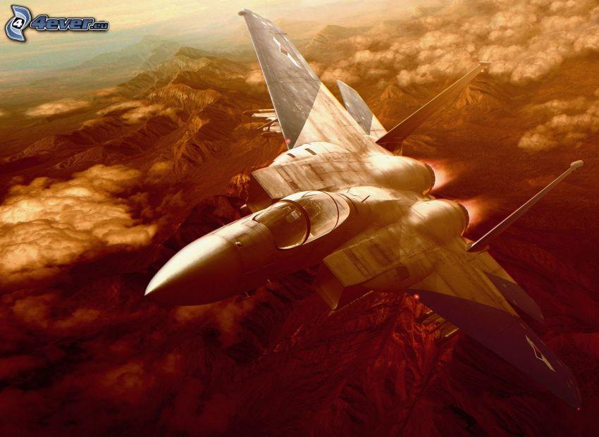F-15 Eagle, krajobraz, gra komputerowa