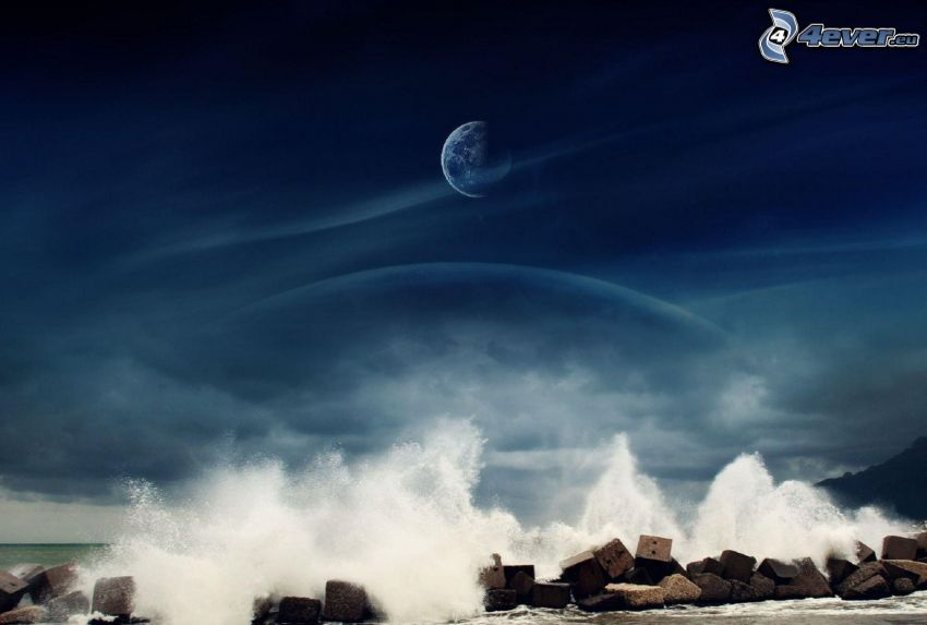 fala, skały, Planeta Ziemia