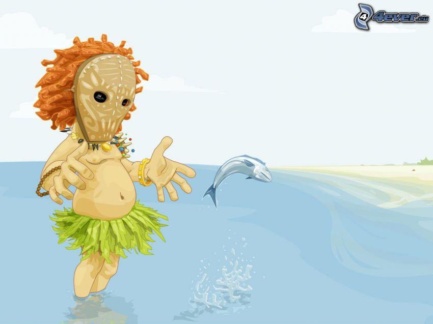 figurka, ryba, morze