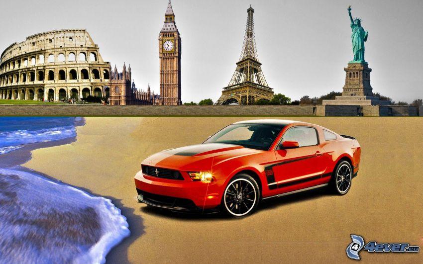 Ford Mustang Boss 302, Statua Wolności, Wieża Eiffla, Big Ben, Kolosseum, morze
