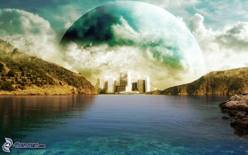 jezioro, domy, planeta, chmury