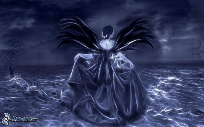 kobieta z, fantazji, skrzydła, niebieskie tło