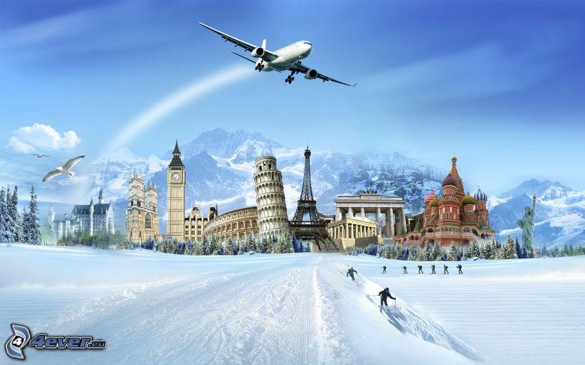 kolaż, samolot, zamek Neuschwanstein, Big Ben, Kolosseum, Krzywa Wieża w Pizie, Wieża Eiffla, Brama Brandenburska, Cerkiew, Błogosławionego Wasyla, Statua Wolności, góry, śnieg
