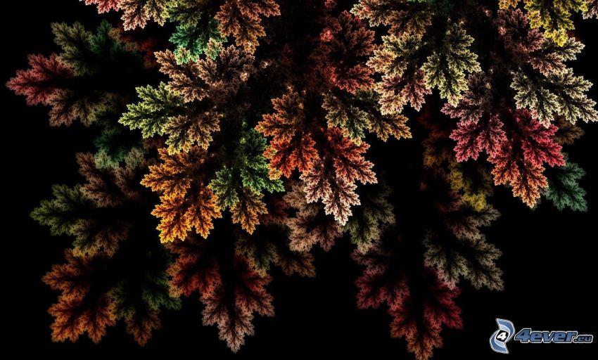 kolorowe liście, ciemny fraktal