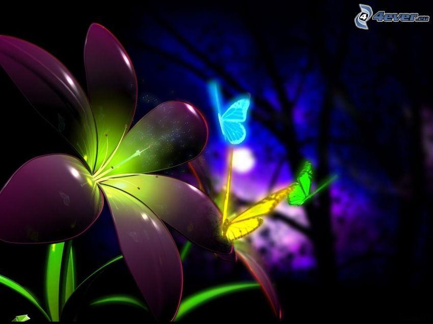 kolorowe motyle, fioletowy kwiat