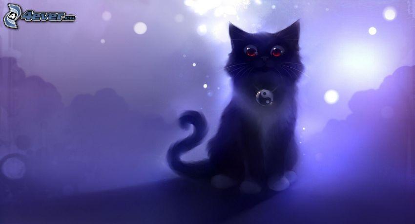 kot rysunkowy, yin yang