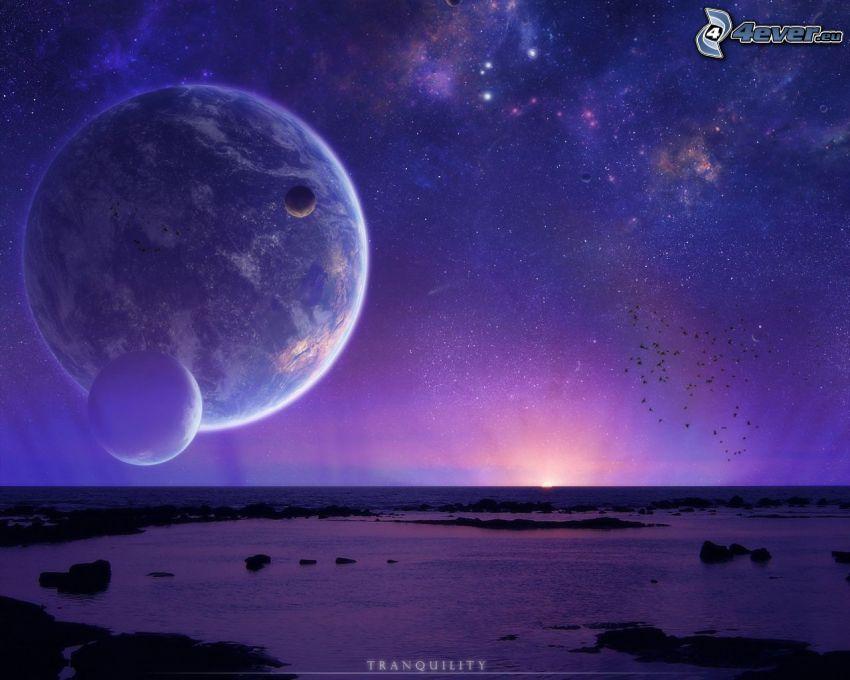 krajobraz sci-fi, planeta, miesiące, gwiazdy