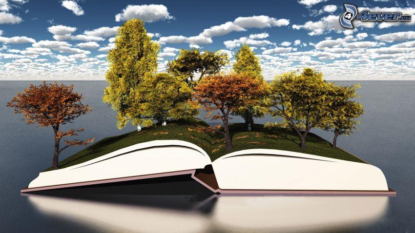 książka, drzewa, chmury