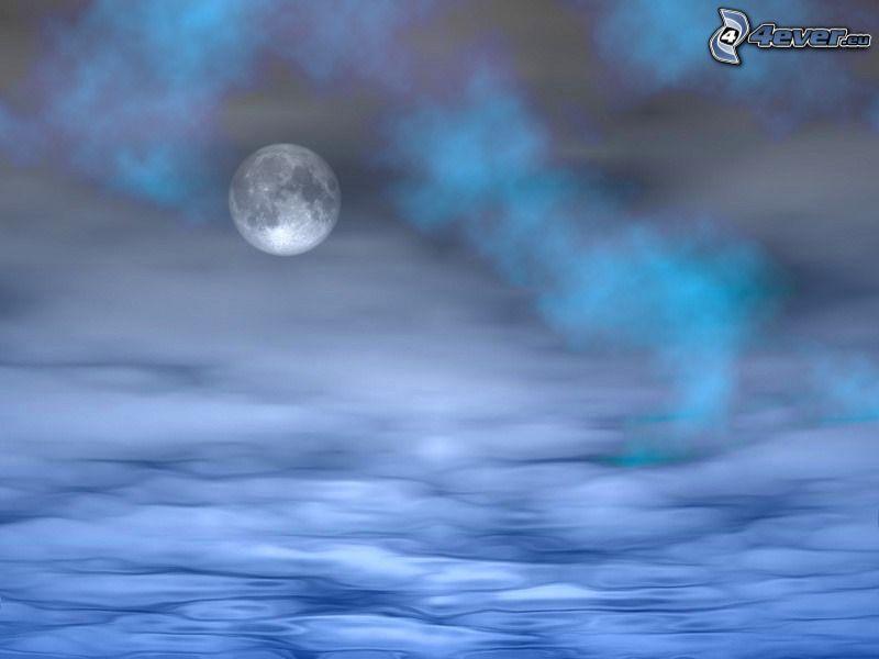 księżyc, woda, fale, para