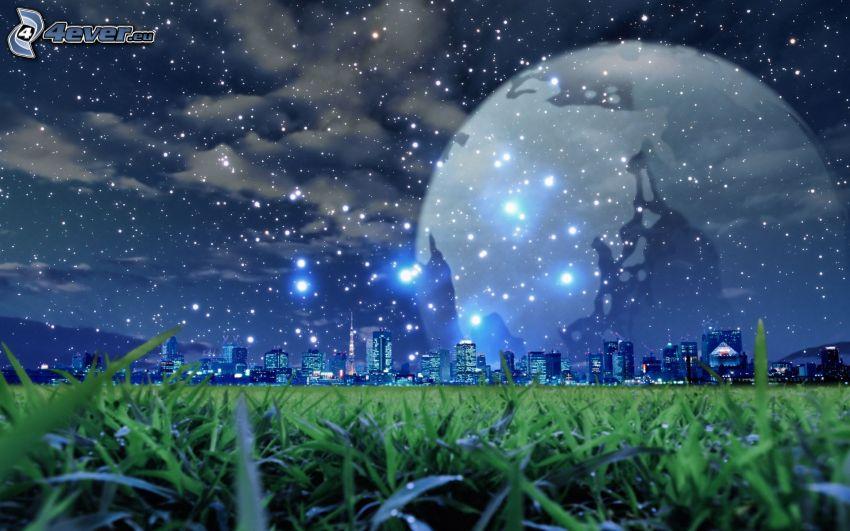 księżyc nad miastem, gwiaździste niebo, trawa