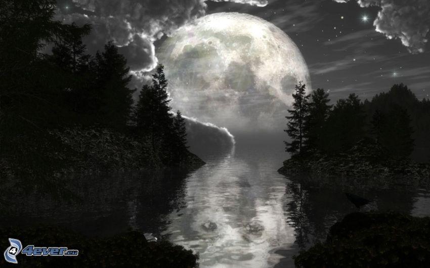 księżyc nad powierzchnią, krajobraz, rzeka, las, sylwetki drzew