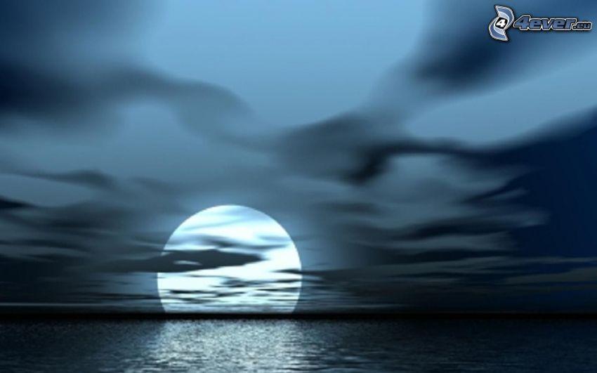 księżyc nad powierzchnią, morze