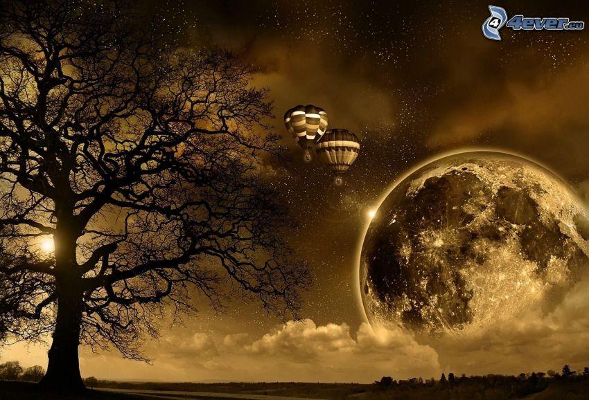 latające balony, planeta, drzewo