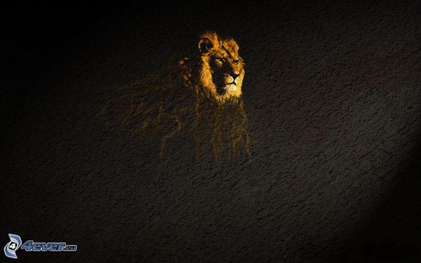 lew, ściana