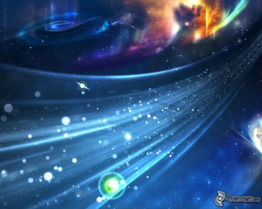 linie, kuleczki, wszechświat