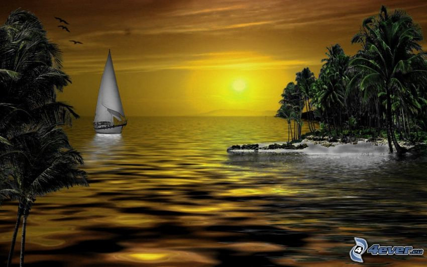 łódź na morzu, zachód słońca, wyspa
