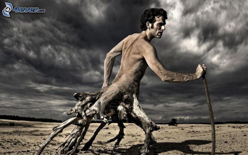 mężczyzna, korzenie, chmury burzowe, pustynia