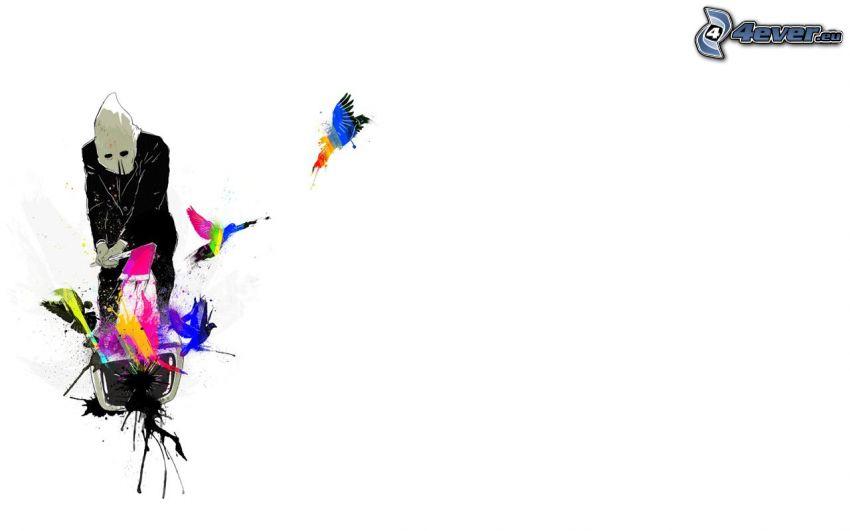 mężczyzna, topór, kolorowe kleksy, ptaki