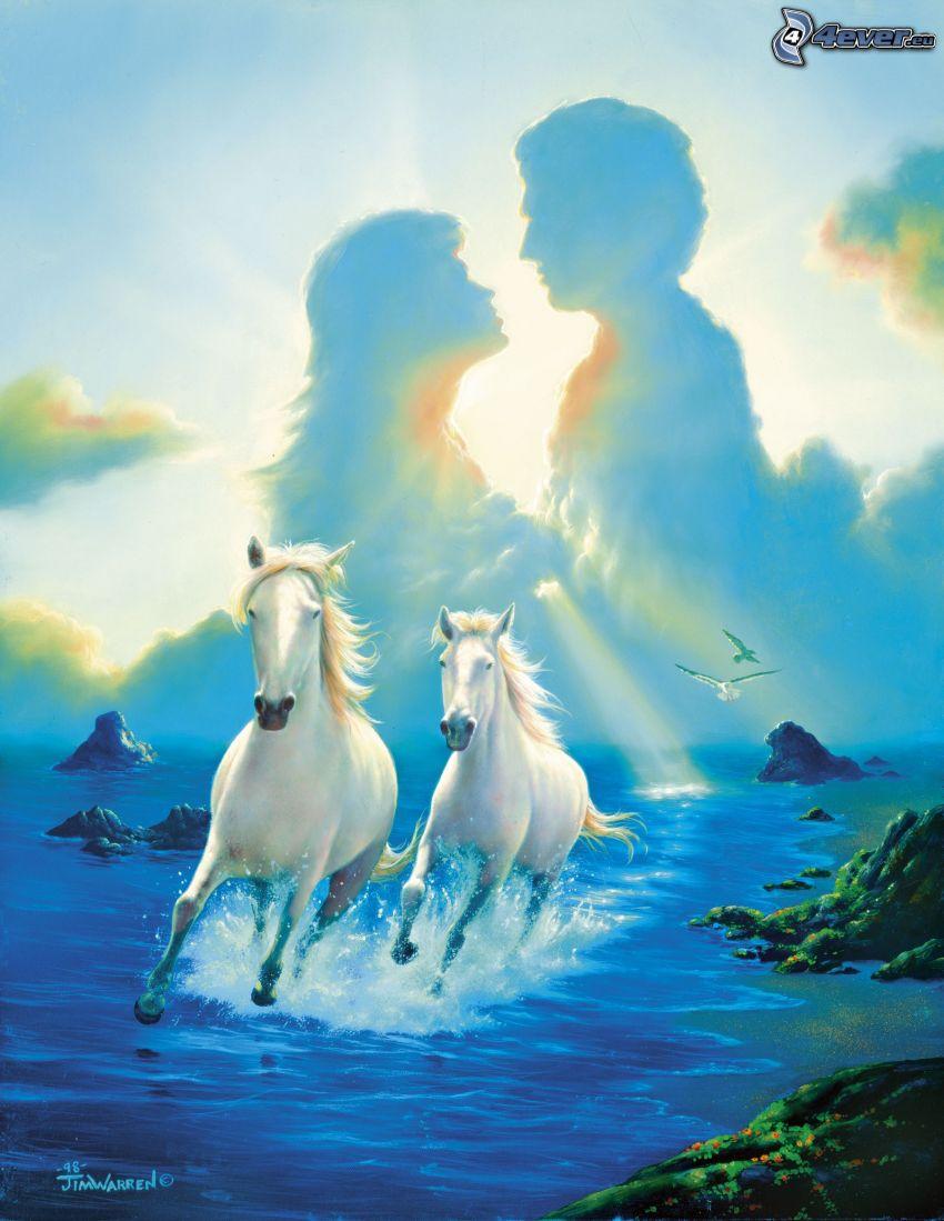 mężczyzna i kobieta, konie, morze, wybrzeże