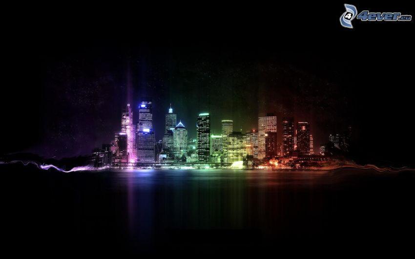 miasto nocą, kolory