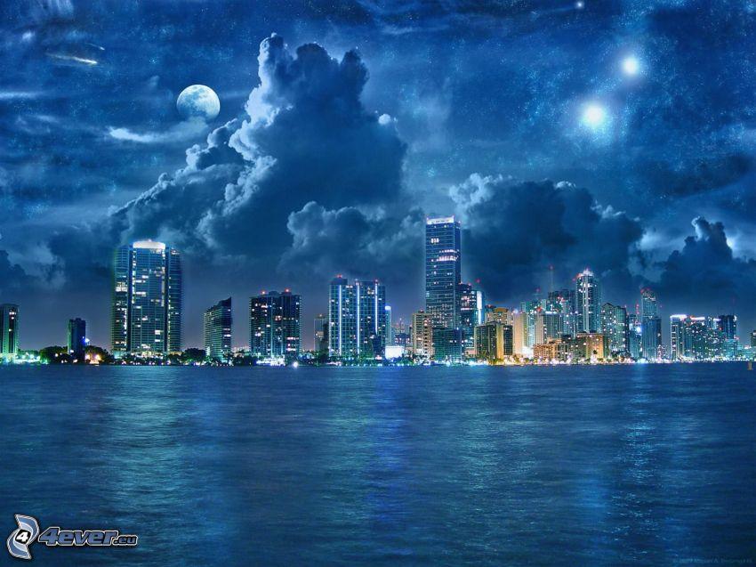 miasto nocą, wieżowce, chmury, księżyc
