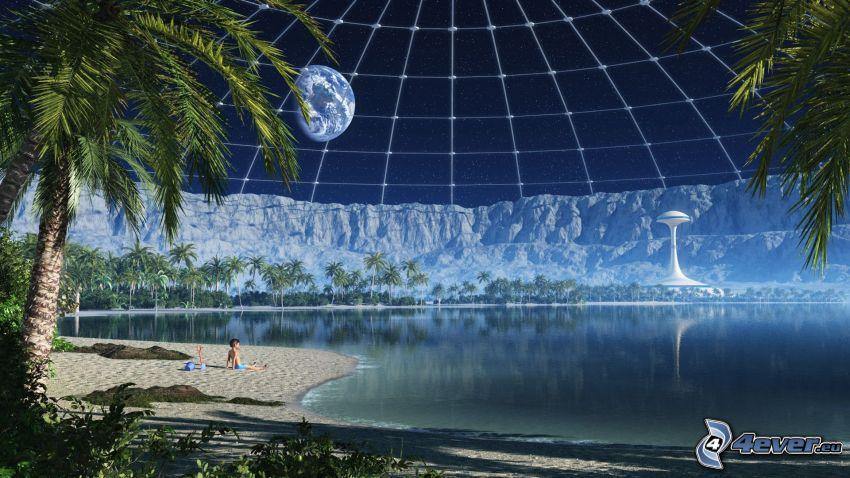 morze, plaża piaszczysta, chłopczyk, Planeta Ziemia, palma