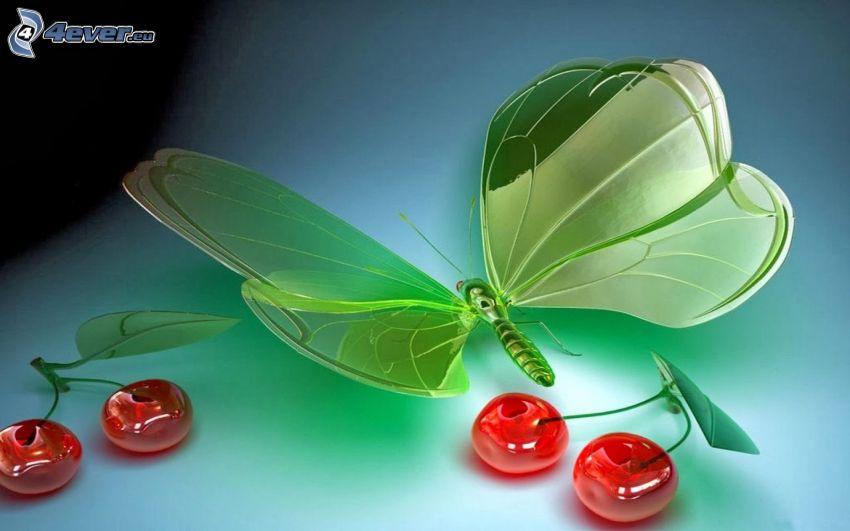 motyl, czereśnie